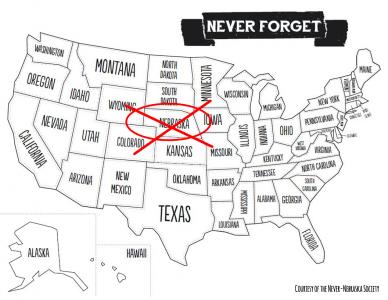 Never Nebraska map- prop for Bad Neighbors by Ava Love Hanna